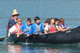Sophia in Canoe in Nitinat Lake